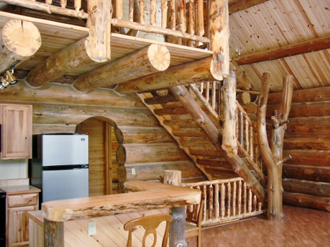 log cabin custom stairs and rails rustic ozark log cabins. Black Bedroom Furniture Sets. Home Design Ideas